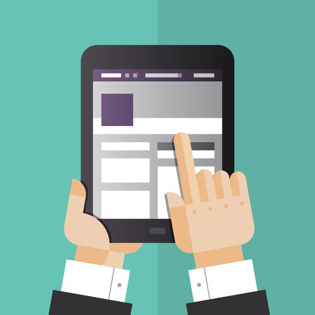 digital tablet: Flat design style vector illustration concept of businessman hands holding modern digital tablet and pointing on social media website on a screen  Isolated on stylish color background