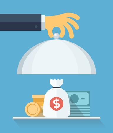 процветание: Квартира стиль дизайна современный векторные иллюстрации Концепция бизнесмена предлагая деньги на подачу пластину для финансирования коммерческого проекта или инвестиции в банковский депозит, изолированных на синем фоне Иллюстрация