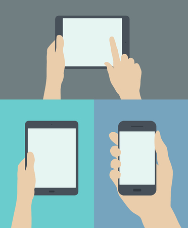 hand holding phone: Flat design style modern vector illustration set concept of hand holding digital tablet and mobile phone with blank screen  Isolated on stylish colored background