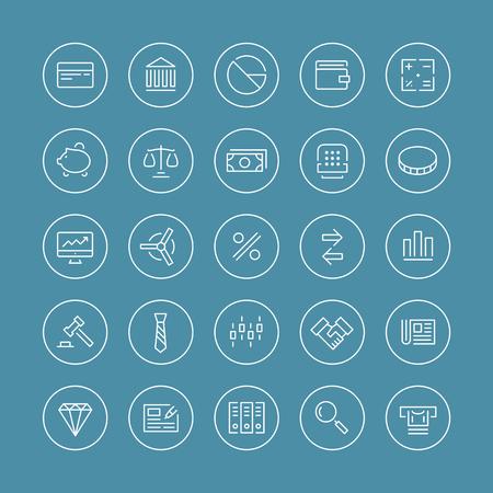 バンキング: 金融サービス項目、銀行の会計ツール、株式市場グローバル取引やお金のオブジェクトと要素分離した白い背景の上の平らな細い線アイコン モダンなデザイン スタイル ベクトルを設定  イラスト・ベクター素材