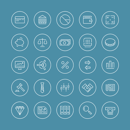 Flat thin line icons modern design style vector set of financial service items, banking accounting tools, stock market global trading and money objects and elements  Isolated on white background  Ilustração