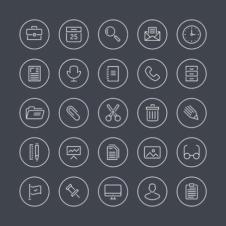 Wohnung dünne Linie Icons modernen Design-Stil Illustration Vektor-Set von Büromaschinen, Objekte, Werkzeuge und andere Elemente mit Menschen in ihrer Arbeit auf weißem Hintergrund Illustration