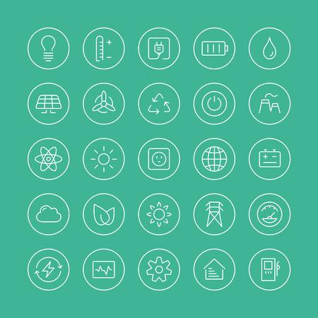 Delgada línea plana iconos modernos conjunto de vectores estilo de diseño de la energía y el símbolo de la energía, las tecnologías de energías renovables naturales, tales como, el viento, el agua, el calor geotérmica, biocombustibles solar y otros elementos de reciclaje ecología innovación aislados sobre fondo blanco Vectores