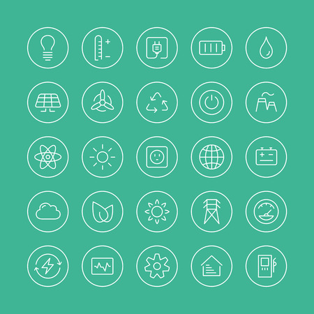 Flat thin line icons modern design style vector set of power and energy symbol, natural renewable energy technologies such as solar, wind, water, geothermal heat, bio fuel and other innovation ecology recycling elements  Isolated on white background  Vector