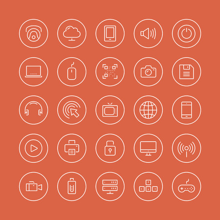 Flat thin line icons modern design style illustration vector set of technology objects and equipments, multimedia symbols, sound instruments, audio and video items and elements  Isolated on white background  Vector