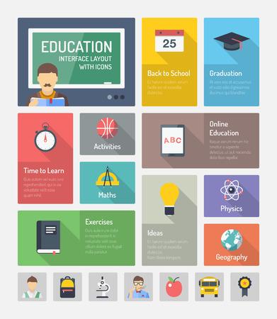인포 그래픽 웹 사이트 탐색 교육 및 학습 기호와 함께 온라인 교육의 설정 아이콘 요소, 공부와 밝은 회색 배경에 고립 교육 개체의 플랫 디자인의 모던 한 벡터 일러스트 레이 션의 개념