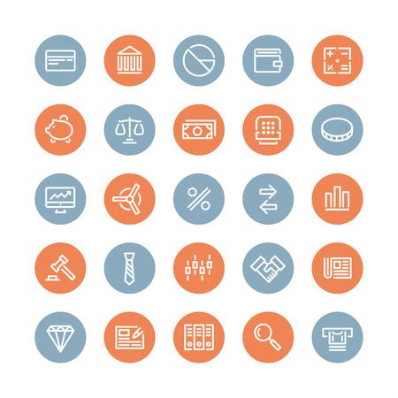 バンキング: 金融サービス項目、銀行の会計ツール、株式市場グローバル取引やお金のオブジェクトと要素分離した白い背景の上の平らな線アイコン モダンなデザイン スタイル ベクトルを設定  イラスト・ベクター素材
