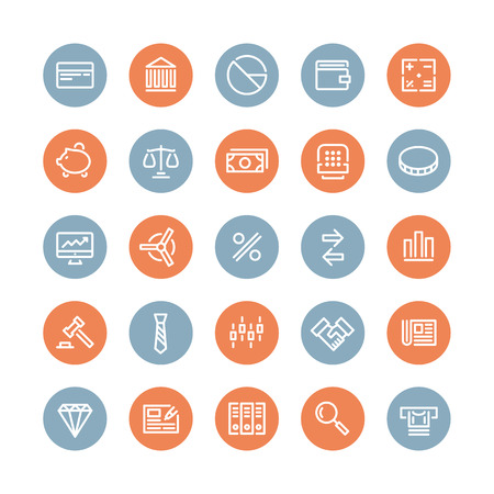 Flat line icons modern design style vector set of financial service items, banking accounting tools, stock market global trading and money objects and elements  Isolated on white background  Vector