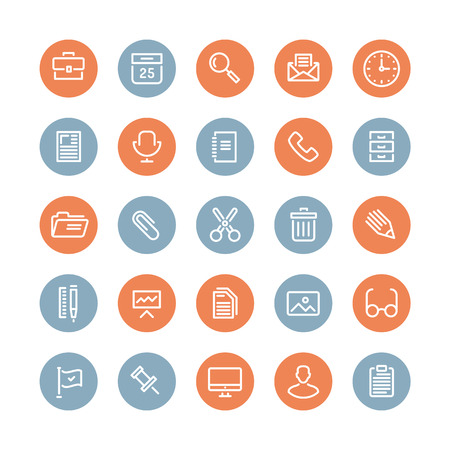 Flat line icons modern design style illustration vector set of office equipment, objects, tools and other elements using people in their work  Isolated on white background  Vector