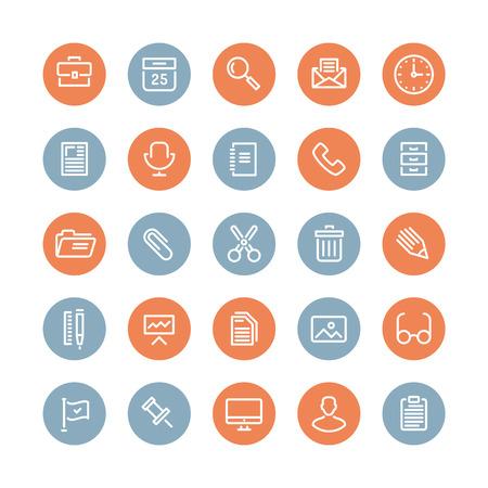 Vlakke lijn iconen moderne design stijl illustratie vector set van kantoorapparatuur, voorwerpen, gereedschappen en andere elementen met behulp van mensen in hun werk Geïsoleerd op witte achtergrond