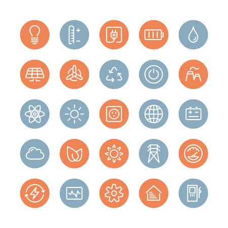 Vlakke lijn iconen moderne design stijl vector set van kracht en energie symbool, natuurlijke hernieuwbare energiebronnen zoals zon, wind, water, aardwarmte, biobrandstoffen en andere innovatie ecologie recycling elementen Geïsoleerd op witte achtergrond