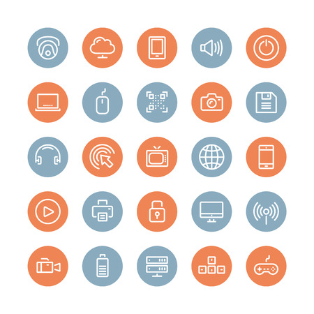 devices: Flat line icons modern design style illustration vector set of technology objects and equipments, multimedia symbols, sound instruments, audio and video items and elements  Isolated on white background