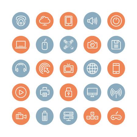 bateria: Línea plana Los iconos del estilo moderno diseño ilustración vectorial conjunto de objetos de tecnología y equipos, símbolos multimedia, instrumentos de sonido, elementos de audio y vídeo y los elementos aislados en el fondo blanco