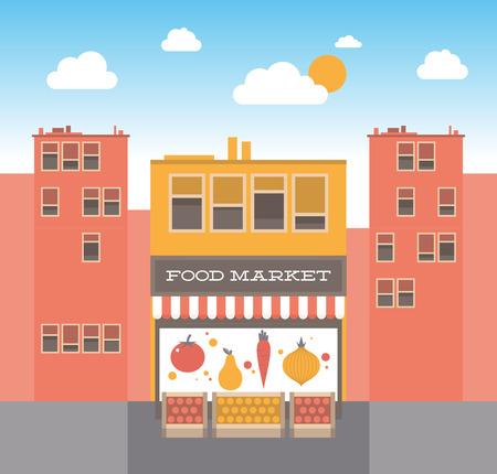 ortseingangsschild: Flache Design-Stil moderne Vektor-Illustration Konzept der kleinen Retro-Lebensmittelmarkt Fassade auf der Straße mit strahlend blauen Himmel mit weißen Wolken auf dem Hintergrund