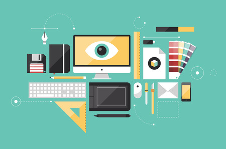 grafisch ontwerp: Plat ontwerp stijl moderne vector illustratie iconen set van grafisch ontwerper items en gereedschappen, kantoor verschillende objecten en apparatuur die op stijlvolle achtergrond kleur