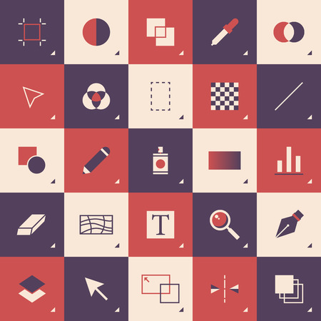 illustrators: Flat design style modern vector illustration concept of abstract graphic design toolbar pattern with pictogram icons and elements for sketching and drawing on a computer  Isolated on stylish color background