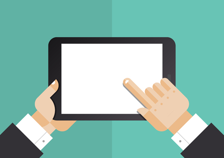 flat screen: Flat design style vector illustration concept of businessman hands holding modern digital tablet and pointing on a blank screen  Isolated on stylish color background Illustration
