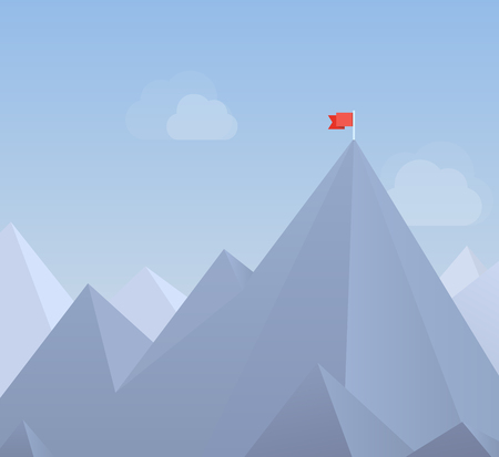 Flat design modern vector illustration concept with copy space of flag on the mountain peak, meaning overcoming difficulties, goals achievement, winning strategy with focus on results Isolated on blue background