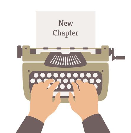 type writer: Illustrazione vettoriale di stile moderno design piatto concetto di autore scrivendo un nuovo capitolo di una storia romanzo su una macchina da scrivere dell'annata elegante manuale Isolato su sfondo bianco