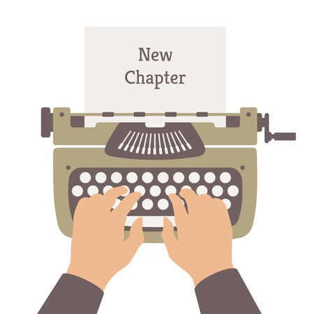 Plat ontwerp stijl moderne vector illustratie begrip van de auteur het schrijven van een nieuw hoofdstuk in een roman verhaal over een handleiding vintage stijlvolle schrijfmachine Geïsoleerd op witte achtergrond