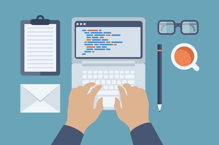 kódování: Ploché provedení ve stylu moderní vektorové ilustrace pojetí programátor nebo kodér workflow pro kódování a HTML programování webových aplikací izolovaných na stylovém barevném pozadí
