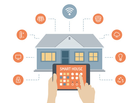smart: Plat ontwerp stijl moderne vector illustratie concept smart house technologie systeem met gecentraliseerde controle van de verlichting, verwarming, ventilatie en airconditioning, veiligheidssloten en videobewaking, energiebesparing en efficiëntie Geïsoleerd op wit