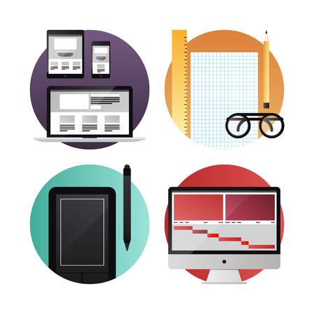 prototyping: Flat icons set modern vector illustration concept of digital tablet, mobile phone and computer with web, graphic and video design process development  Isolated on white background