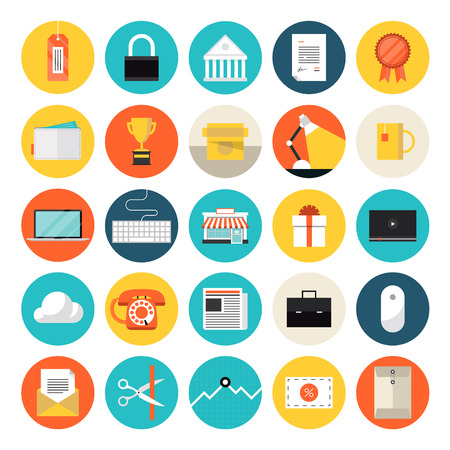financial item: Flat design icons set modern style vector illustration concept of e-commerce and shopping objects