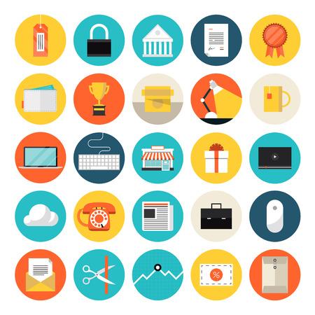 office products: Iconos del dise�o global previsto estilo moderno ilustraci�n vectorial concepto de objetos de comercio electr�nico y de compras