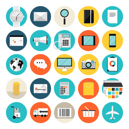 Flat design icons set modern style vector illustration concept of e-commerce and shopping objects Vector