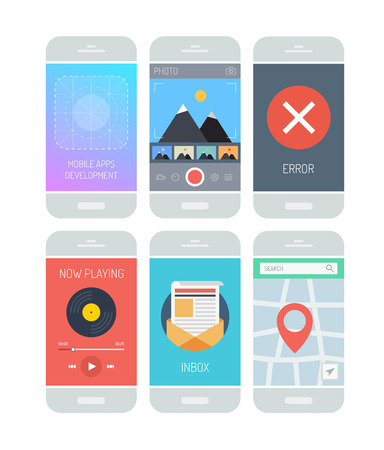 Flat design style vector illustration concept set of modern smartphone with various abstract user interface elements