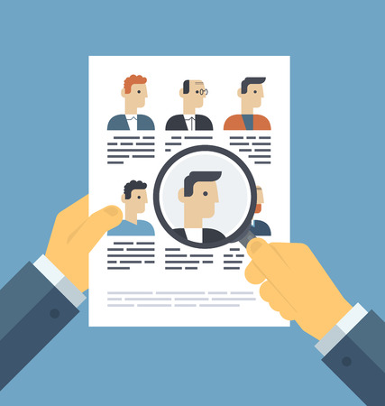 Flat design style modern vector illustration concept of human resources management, finding professional staff, head hunter job, employment issue and analyzing personnel resume.