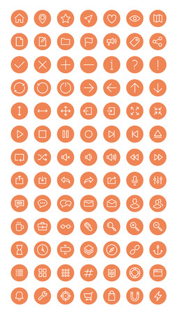 social web sites: Flat line icons modern design style vector set of user interface elements for web development and website navigation objects, office items and business equipment collection. Isolated on white background.