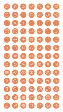Vlakke lijn iconen moderne design stijl vector set van user interface elementen voor web development en website navigatie voorwerpen, kantoorartikelen en zakelijke apparatuur collectie. Geïsoleerd op witte achtergrond.