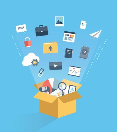 클라우드 컴퓨팅 기술 서비스, 웹 데이터 저장 및 아카이브 정보를 호스팅 및 인터넷 통신을 통해 비즈니스 문서 액세스의 평면 디자인의 모던 한 벡터