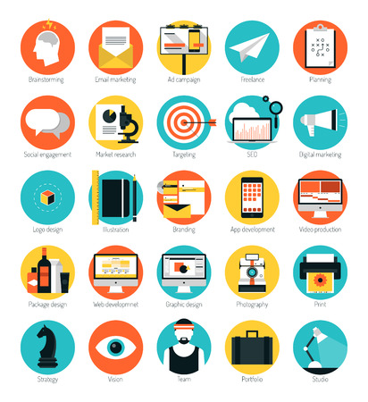 market trends: Flat design icons set modern style vector illustration concept of web development service, social media marketing, graphic design, business company branding items and advertising elements. Isolated on white background.   Illustration