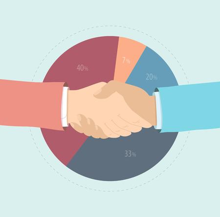 negotiations: Estilo de dise�o Flat vector moderno concepto de ilustraci�n de dos hombres de negocios agitando la mano, el acuerdo de participaci�n en el mercado, la cooperaci�n para el marketing y la soluci�n financiera y la estrategia de �xito. Aislado en el fondo con estilo Vectores