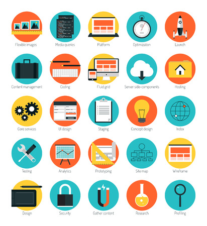 Flat design icons set modern style vector illustration concept of responsive design web interface, website analytics, search engine optimization, html coding, webpage wireframe and prototyping  elements. Isolated on color background Vector