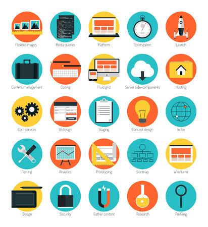 Los iconos de diseño plano establecen el concepto de ilustración de vector de estilo moderno de interfaz web de diseño receptivo, análisis de sitios web, optimización de motores de búsqueda, codificación html, estructura metálica de página web y elementos de creación de prototipos. Aislado en el fondo de color