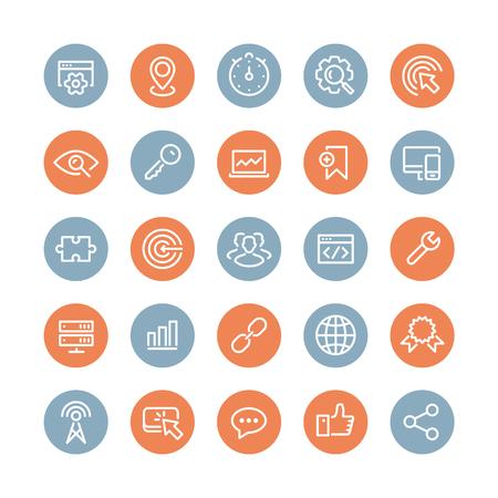 talál: Egyenes vonal ikonok modern design vektor, állhatatos, SEO szolgáltatás szimbólumok weboldal kereső optimalizálás, webanalitikai és internetes üzleti fejlődés. Elszigetelt fehér háttérrel. Illusztráció