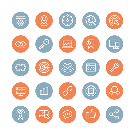Flat line icons modern design style vector set of seo service symbols, website search engine optimization,  web analytics and internet business development. Isolated on white background. Illustration