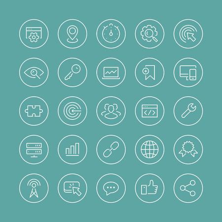 ligne: Appartement ligne mince ic�nes vectorielles ensemble moderne de style de conception des symboles de services de r�f�rencement, l'optimisation des moteurs de recherche du site, web analytics et le d�veloppement des affaires sur Internet. Isol� sur fond blanc.