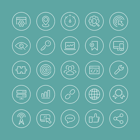 Flat thin line icons modern design style vector set of seo service symbols, website search engine optimization,  web analytics and internet business development. Isolated on white background. Vector