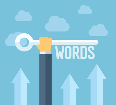 フラットなデザイン スタイル モダンなベクトル イラスト概念検索エンジン最適化、SEO の成功のための関連性の高いキーワードを選択するのウェブ  イラスト・ベクター素材