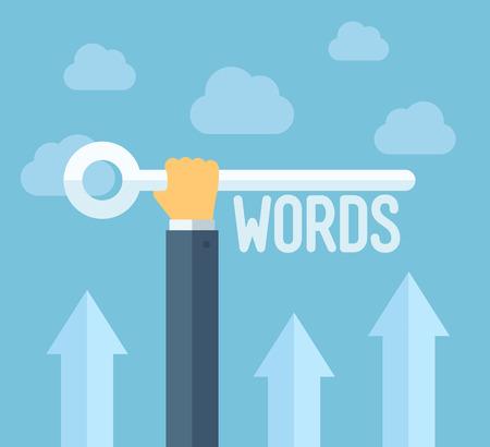 forschung: Flache Design-Stil moderne Vektor-Illustration Konzept der Suchmaschinen-Optimierung, die Auswahl relevanter Keywords für den Erfolg SEO, Optimierung der Website für das Verkehrswachstum und Rang Ergebnis. Isoliert auf stilvolle Farbhintergrund