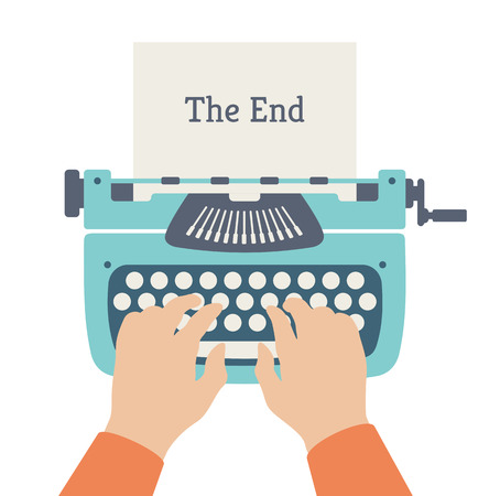 typewriter: Flat design style modern vector illustration concept of author hands typing on a manual vintage stylish typewriter and the end of story title text on a paper page. Isolated on white background