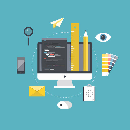 Plat ontwerp stijl moderne vector illustratie concept met pictogrammen set van webpagina coderen en programmeren, website design planning en ontwikkeling en freelance projectmanagement. Geïsoleerd op stijlvolle achtergrond kleur