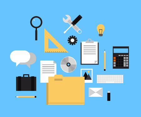 Flat design style modern vector illustration icons set of web folder with documents, office equipment, working tools and other business elements for internet workflow and management. Isolated on stylish color background.