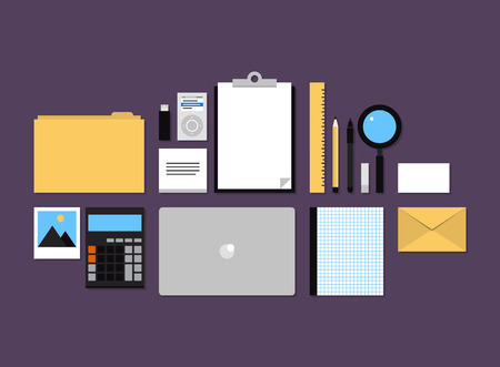 Modern design flat icons vector collection concept of office supplies and objects for daily routine, regular items on a desk for company presentation, planning and workflow. Isolated on color background. Vector