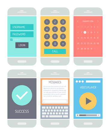username: Flat design style vector illustration concept set of modern smartphone with various abstract user interface elements, forms, icons, buttons for application software in stylish colored design. Isolated on white background.
